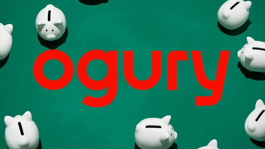 the ogury logo surrounded by piggy banks