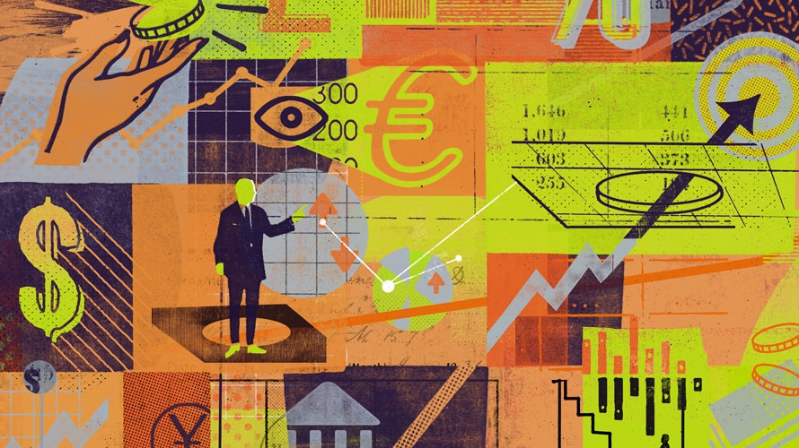 illustration of a man standing on a platform with dollar signs and other obscure things floating around him