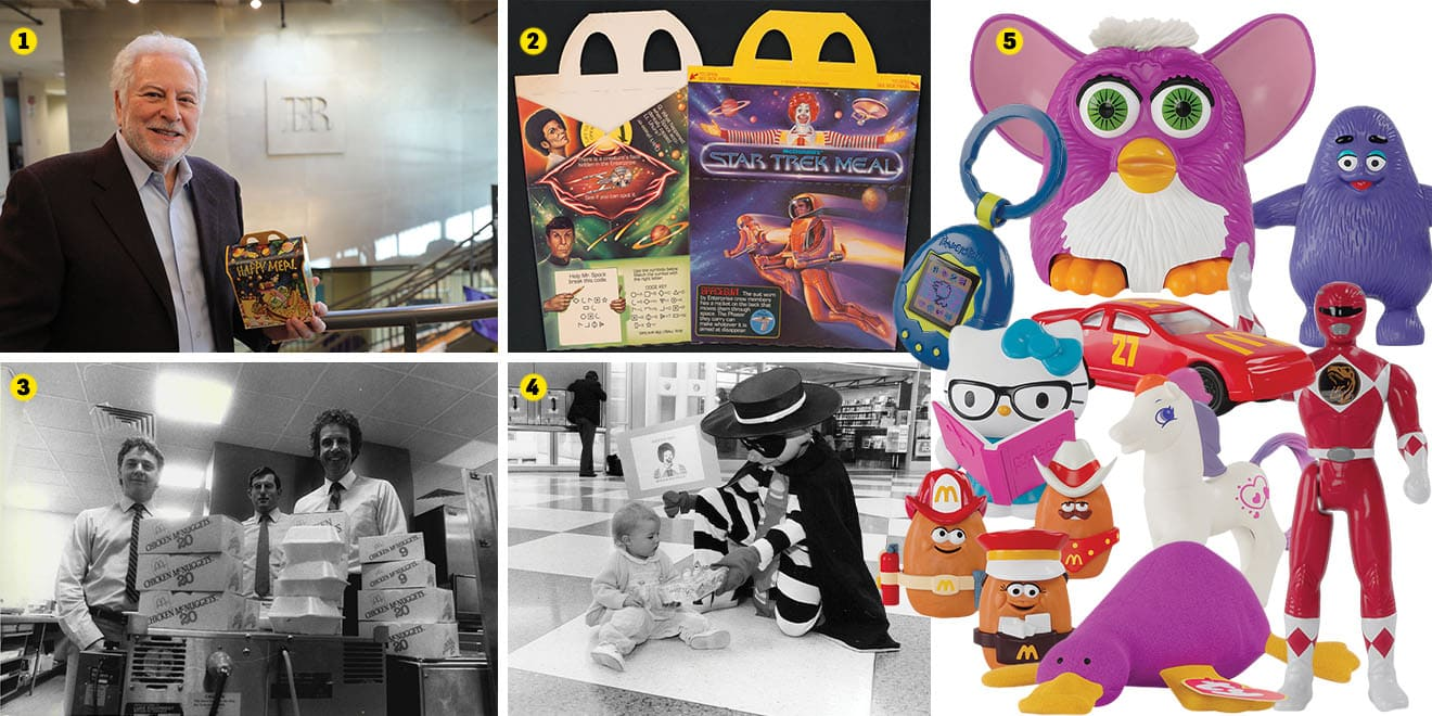 a grid of photos, such as furbies included as toys in happy meals and happy meal boxes