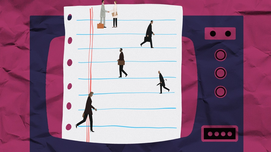 Illustration of people walking on a piece of notebook paper, on top of a TV screen