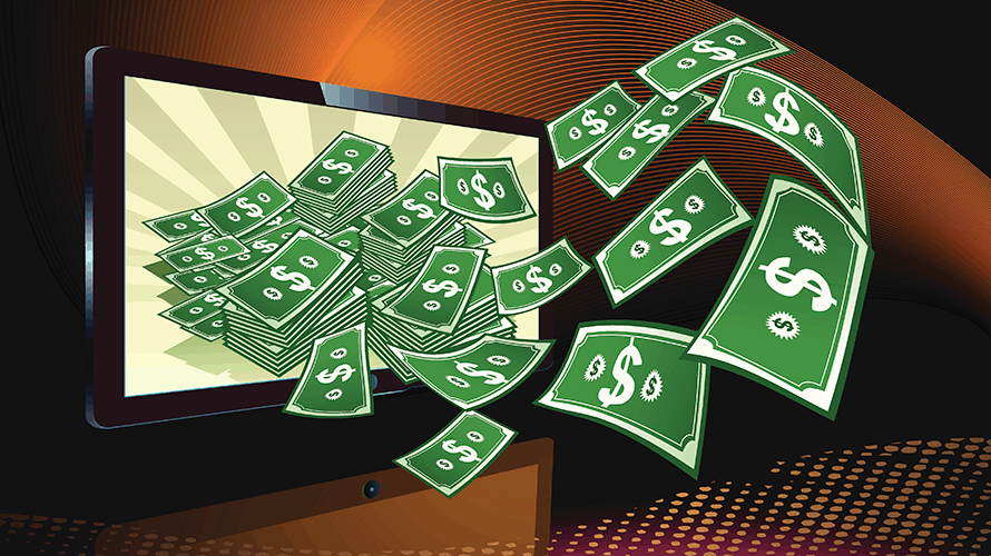 dollar bills flowing out of a TV