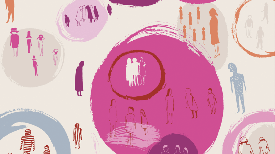 bubbles of pink with people sectioned off inside of and outside of the bubbles