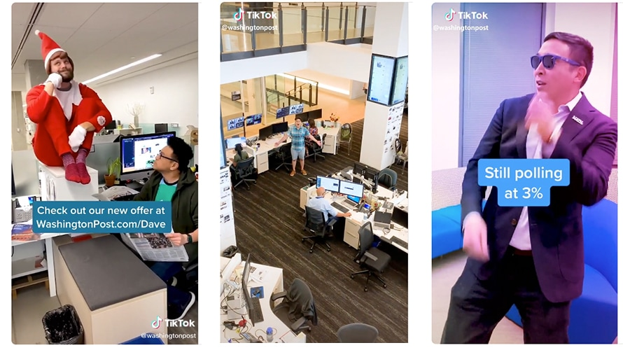 three images from tiktok: one is a man perched on a desk as an elf, another is an empty newsroom, and the third is a man with sunglasses on