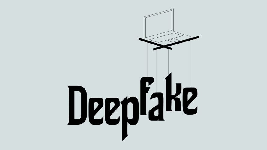 Laptop with puppet strings over the word Deepfake