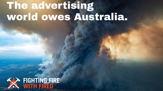 aerial image of Australia wildfires with text 'Fighting Fire With Fired'