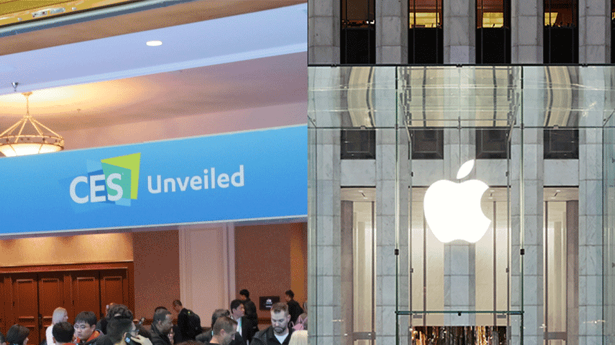 side by side photo of ces unveiled signange, and storefront apple signage
