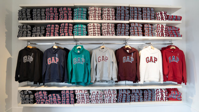 a display of GAP sweatshirts