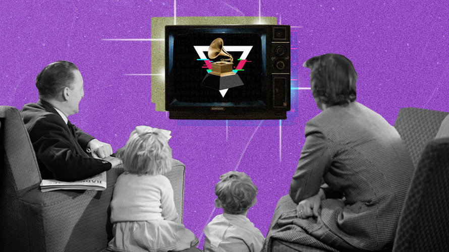 A family watching television with an image of a Grammy award in the TV