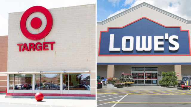 side-by-side storefronts of target and lowe's