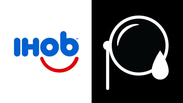 The IHOb logo next to a close-up of Mr. Peanut's monocle with a teardrop