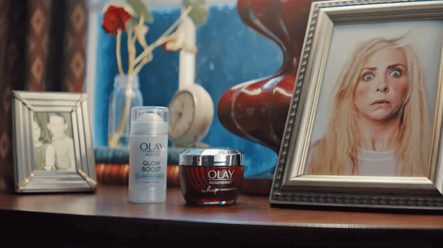 A still from Olay's first Super Bowl ad
