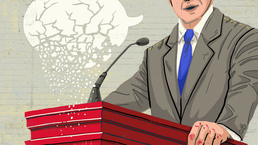 Illustration of a politician making speech with crumbling speech bubble