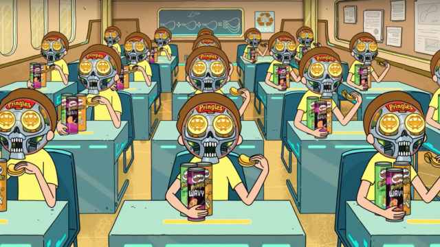 a classroom full of morty robots