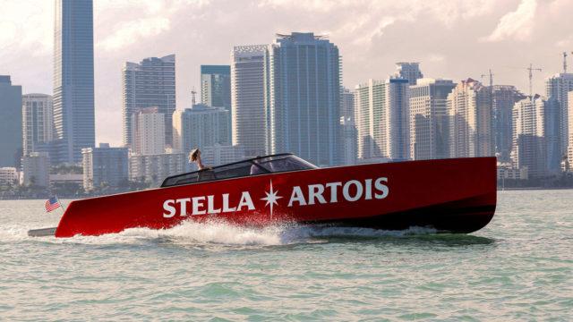 a branded stella artois boat