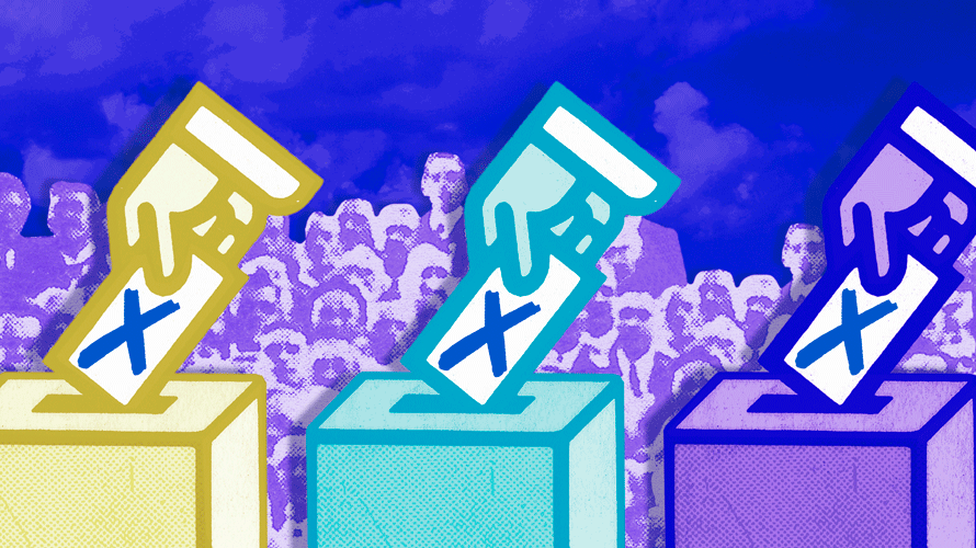 a yellow, blue and purple hand putting ballots into ballot boxes