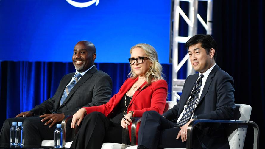 Vernon Sanders, Jennifer Salke, Albert Cheng at TCA