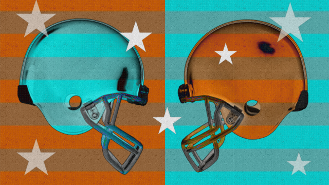 Two football helmets facing off with stars around them.
