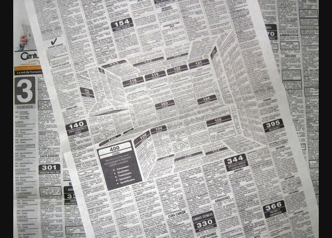 Crazy 3-D Newspaper Ad Hides a Kitchen Inside a Classifieds Page