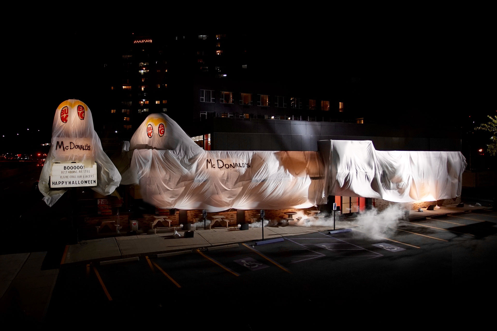 burger king dressed up as the ghost of mcdonald's in this scary good