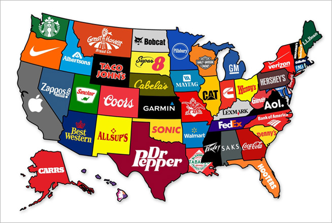A Map of the U.S. That Shows Each State\'s Most Famous Brand – Adweek
