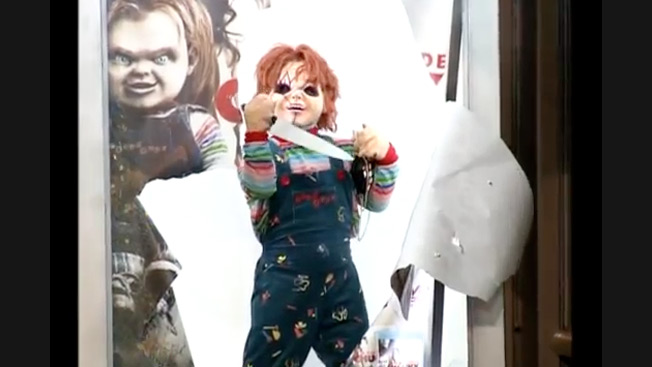 Chucky Crashes Through Bus Shelters and Chases People With a Knife in Latest Crazy Ad Prank