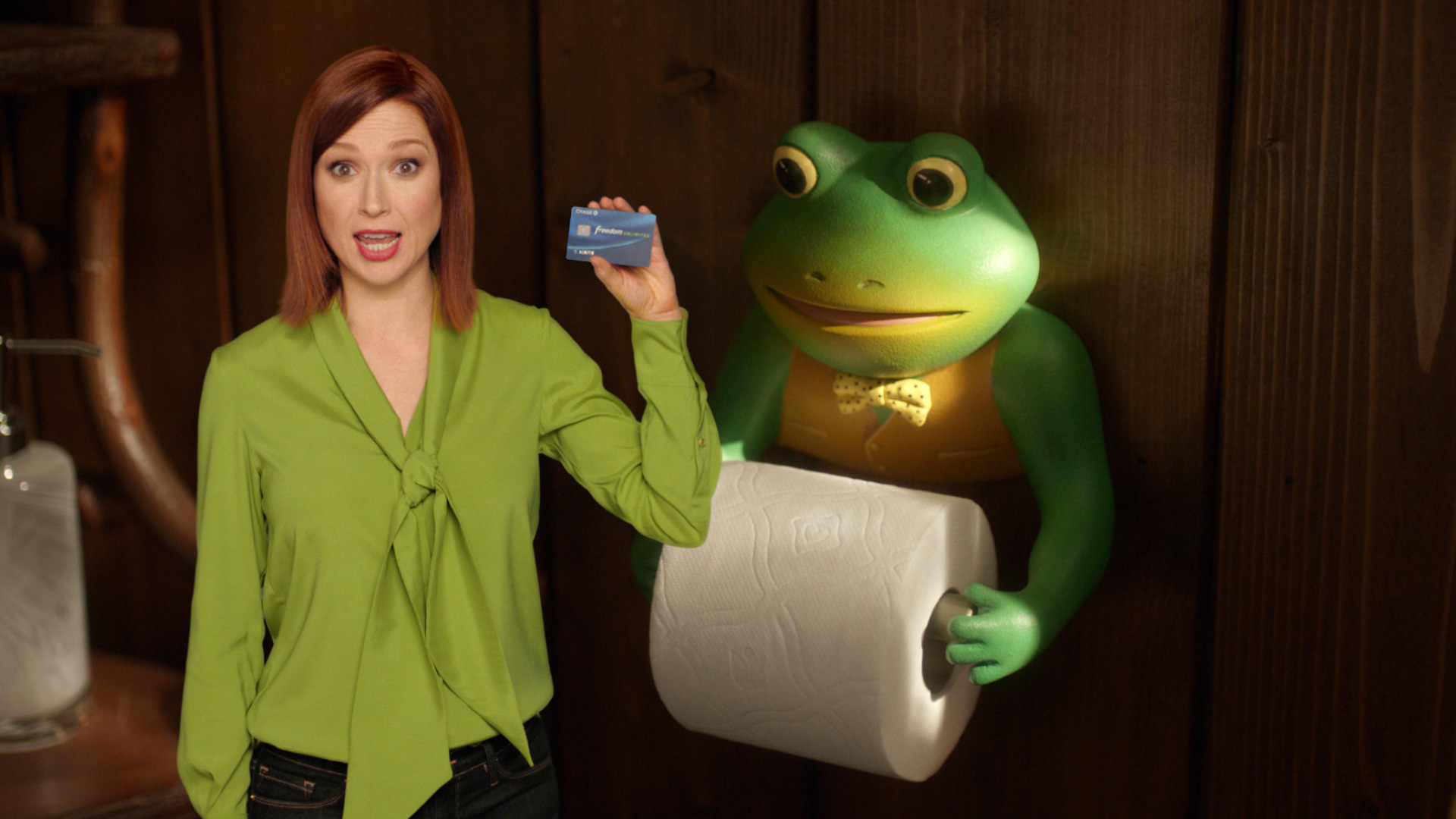 ellie kemper crashes old droga5 ads in the agency s new ads for