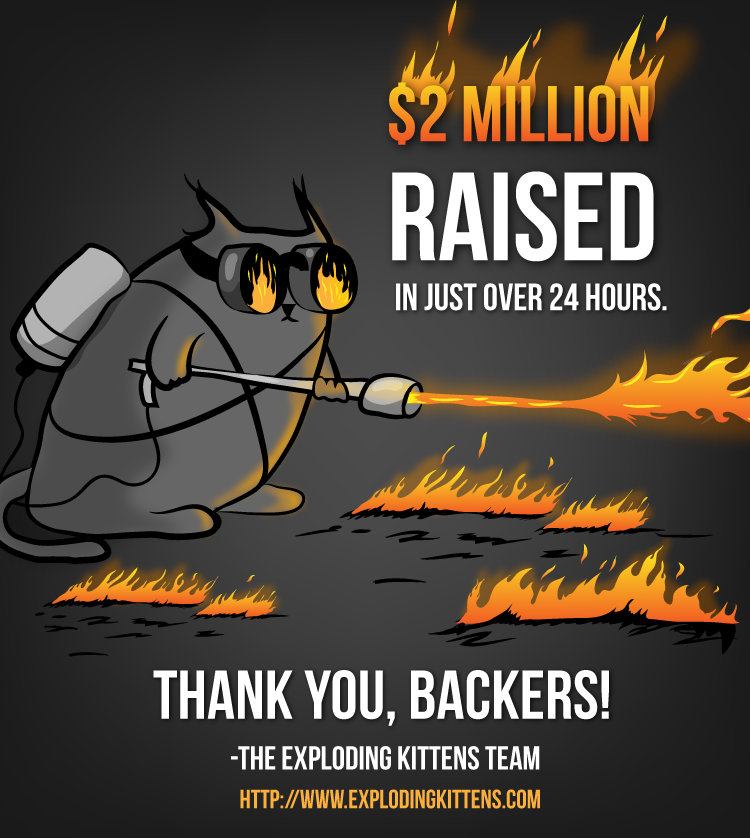 Kickstarter For Exploding Kittens Asked For 10k Over A Month It