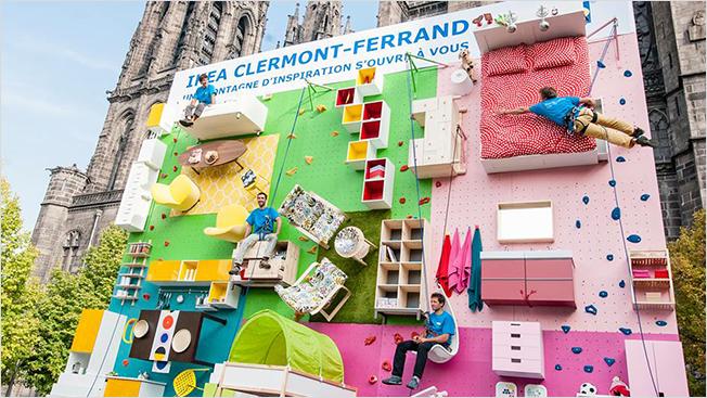 Incredible Ikea Billboard Tips an Apartment Sideways to Become a Rock-Climbing Wall