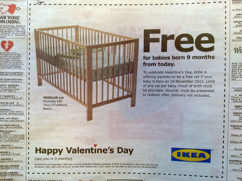 Ikea Wins Valentine S Day With Offer Of Free Crib Nine Months From