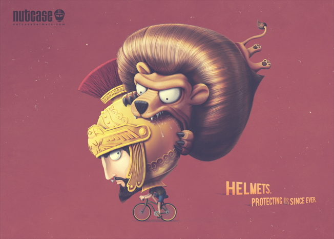 these adorable print ads for nutcase helmets show protective