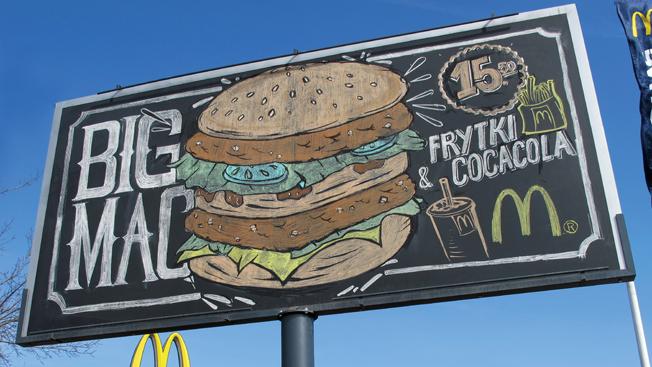 Chalk Billboard, Redrawn Twice Daily, Highlights Freshness at McDonald's