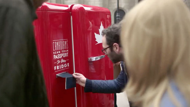 Molson's World-Traveling Beer Fridge Can Be Opened Only With a Canadian Passport