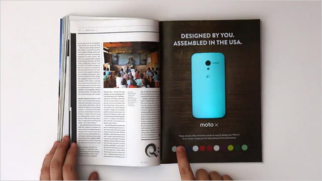 Print Ad for Moto X Lets You Change the Phone's Color With the Push of a Button