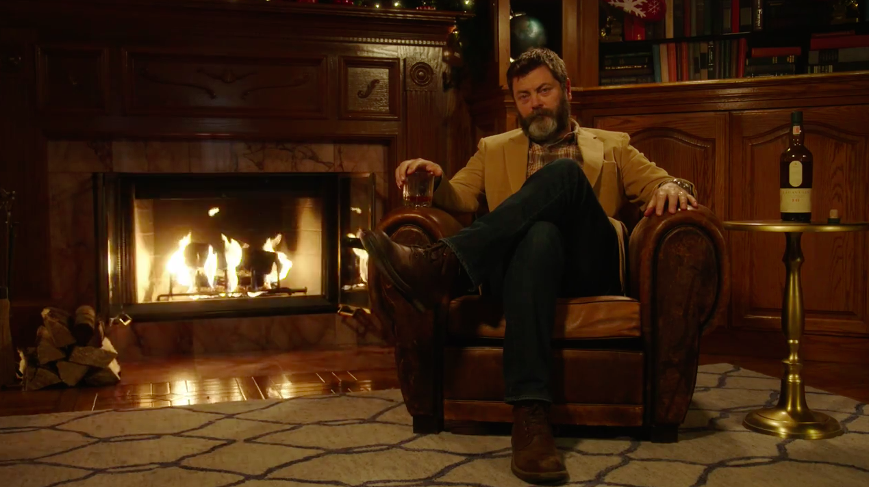 Nick Offerman's Yule Log for Lagavulin Is 45 Minutes of Silent, Uninterrupted Brilliance