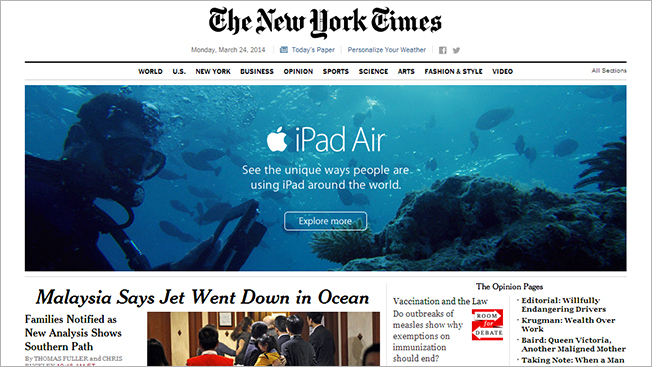 Awkward: NYT Runs Underwater iPad Ad Above News of Airline's Ocean Crash