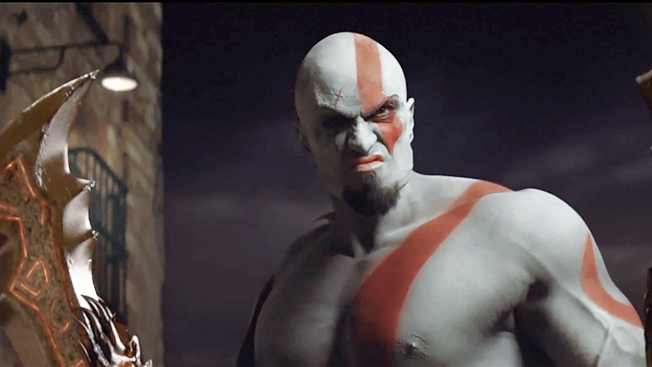 """Screengrab of Kratos from Playstation's """"The All-Star"""" ad"""