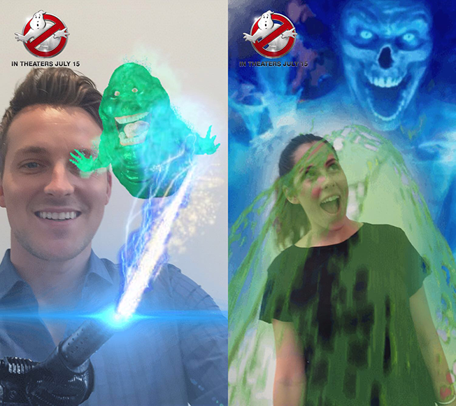 ghostbusters snapchat ad lets users use both sides of the phone s