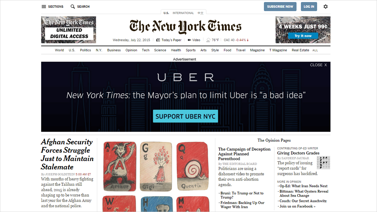 uber takes over new york times homepage with large ad calling out