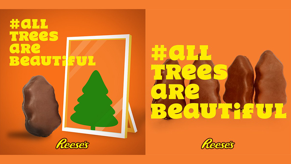 reeses turned gripes about its ugly christmas candy into funny ads about tree shaming adweek