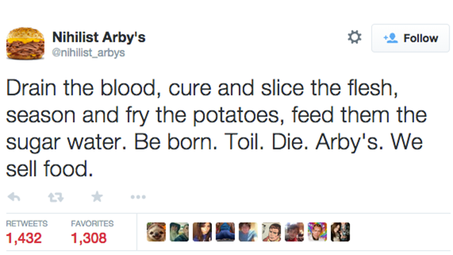 the nihilist arby s twitter account is getting better engagement