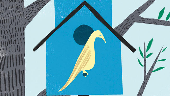 Three tier blue bird house with a red bird flying above the top, light blue bird on second perch and yellow bird on bottom perch.