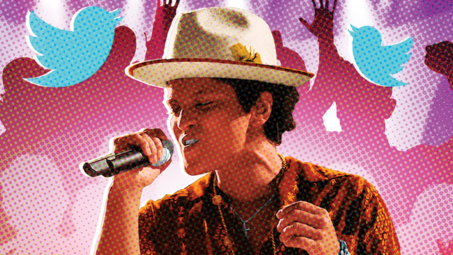 Bruno Mars dancing with a white hat on. Red, pink and purple figures in the background and Twitter birds around him.