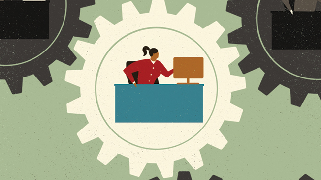 Green background with black gears and one white gear in the middle that has a blue desk, yellow computer and woman in a red shirt.