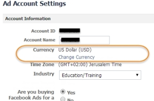 How to change currency ad account facebook