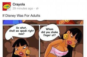 Crayola apologized after adult-themed posts showed up on its Facebook page on Sunday.