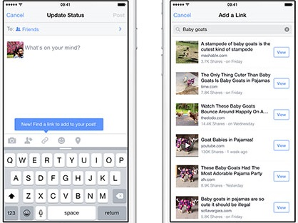 Facebook iPhone Users Can Find, Share Links Without Browsers